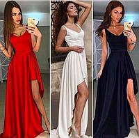 Атласное длинное платье с разрезом 6460