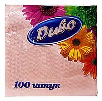 Салфетки бумажные Диво розовые 1 слой 33 х 33 см - 100 шт.