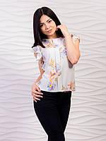 Шифоновая блуза с рукавами крылышки