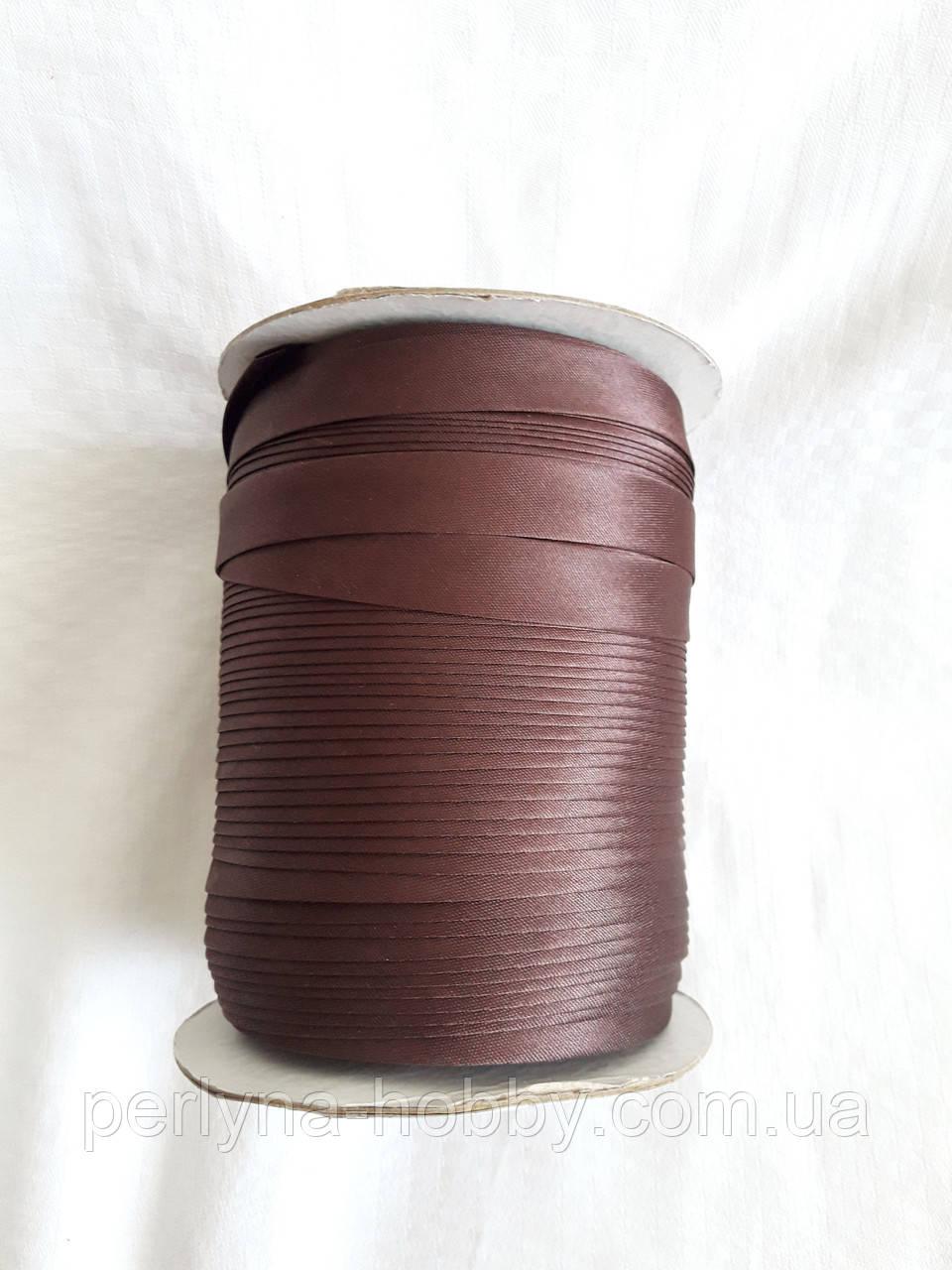 Лямівка атласна 15 мм, косая бейка,коричнева з бордовим відтінком№ 77