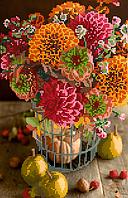 Схема для вышивки бисером POINT ART Осенние цветы, размер 22х34 см