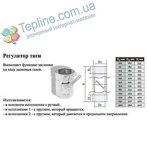 Регулятор тяги для димоходу d 300 мм; 0,5 мм; AISI 304; нержавійка/оцинковка сендвіч - «Версія-Люкс», фото 2