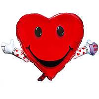 Фольгированные шары фигура Сердце с руками 103х63 см