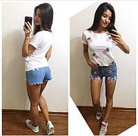 Костюм 5025. Футболка белая + джинсовые шорты