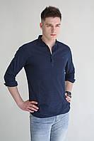 Мужская рубашка темно синяя лён Armani в цветах