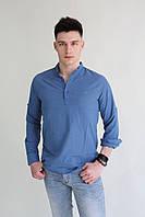 Мужская рубашка синяя лён Armani в цветах