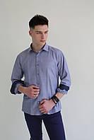 Мужская рубашка синяя Pier Carlino