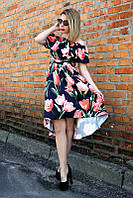 Платье тюльпан волан (2 цвета), красивое летнее платье