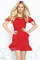 Летнее платье воланы. Цвет красный.
