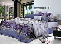 Комплект постельного белья из сатина фиолетовый семейный