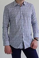 Мужская рубашка белая в синюю точечку Gauche