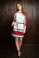 Оригинальное вышитое женское платье с поясом