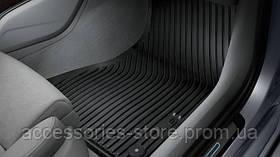 Напольные резиновые коврики Audi S6 для передней части салона, черные