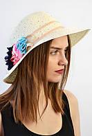 Шляпа женская модель Майкан молочно-синяя