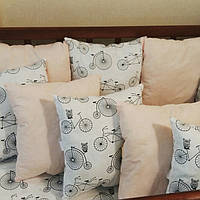 Бортики в кроватку малыша на 4 стороны. 12 подушек и хлопковый наматрасник, фото 1