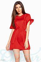 Летнее платье рюши. Цвет красный.