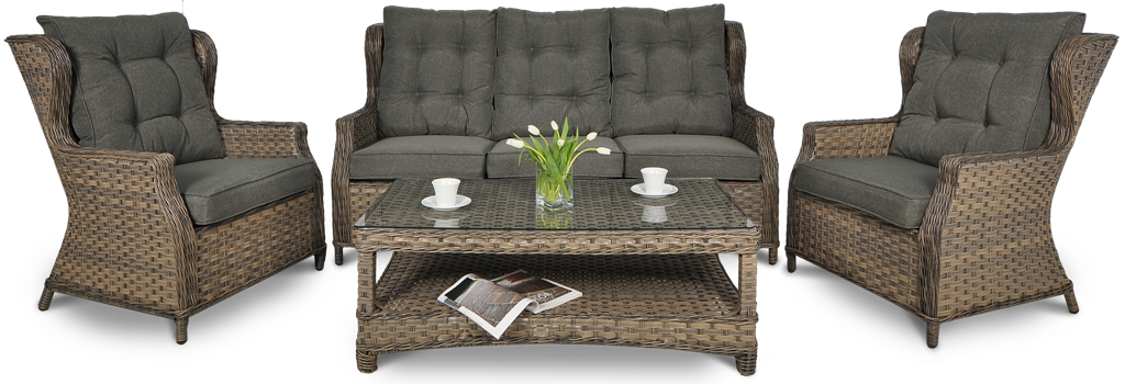 Набор  ротанга BILBAO MELANGE 3 диван + кресла +стол
