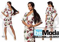 Модное женское платье средней длины из вискозы с цветочным принтом белое