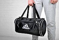 Сумка Adidas бочка черная белый лого 4 отделения