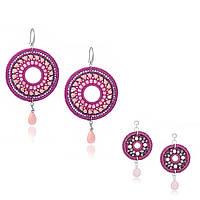 Набор плетеных серег с камнями  для мамы и дочки из шелковой нити, розового кварца, кварца, композита, и Swarovski