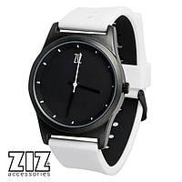 Часы наручные 6 секунд Black белый силиконовый ремешок