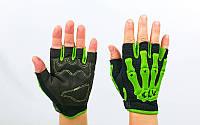 Вело-мото перчатки текстильные Скелет  Салатовый, XL