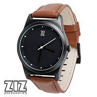 Часы наручные 6 секунд Black коричневый кожаный ремешок
