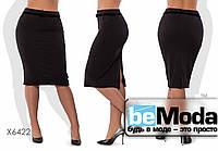 Модная женская юбка больших размеров средней длины из креп дайвинга черная