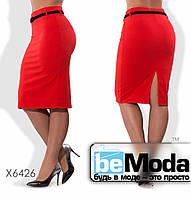 Модная женская юбка больших размеров средней длины из креп дайвинга красная