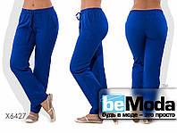 Комфортные женские брюки большого размера из тонкого льна синие