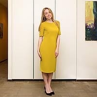 Женское горчичное платье с рукавом