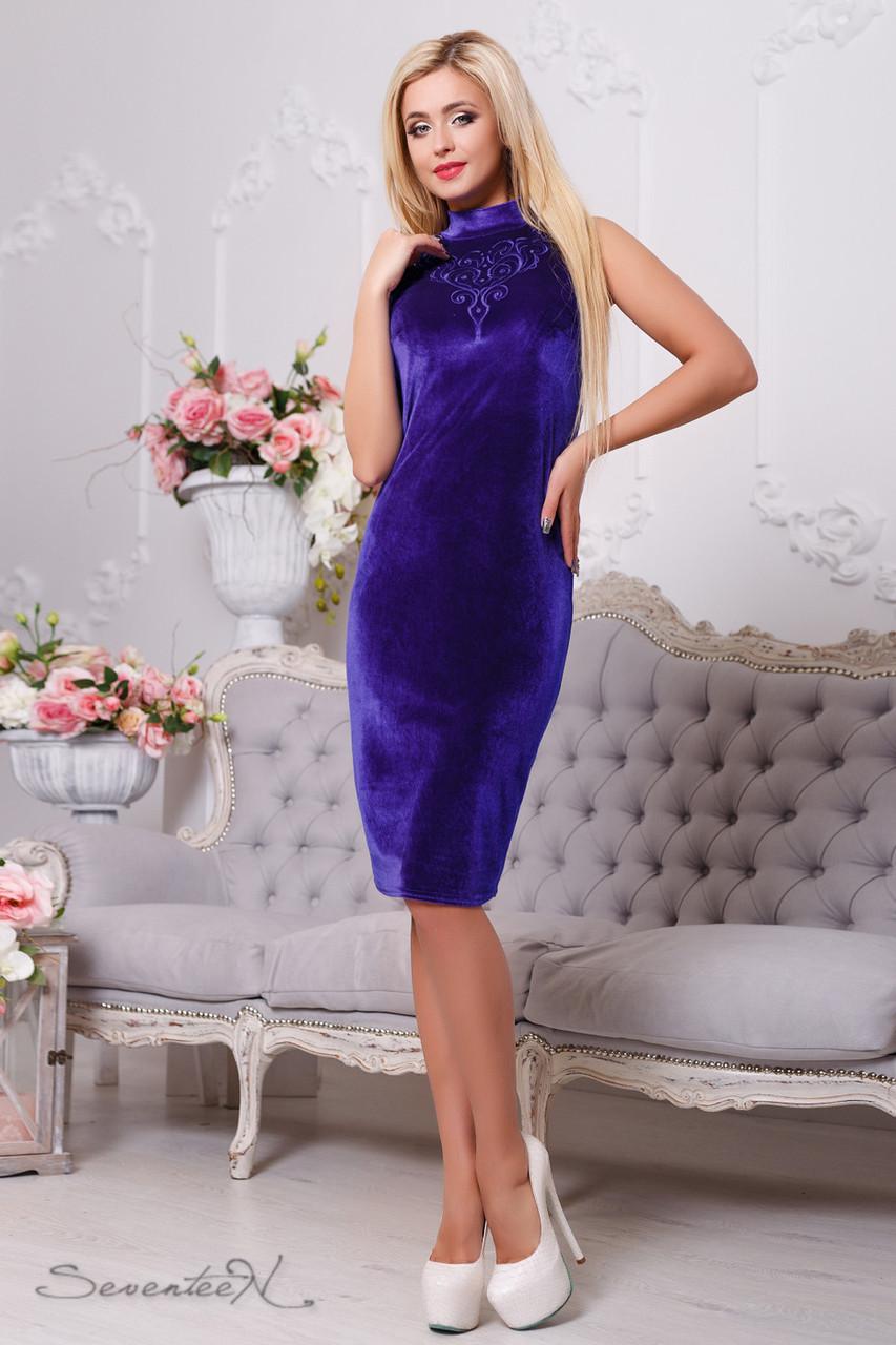 Красивое  изящное женское  платье 2108 электрик