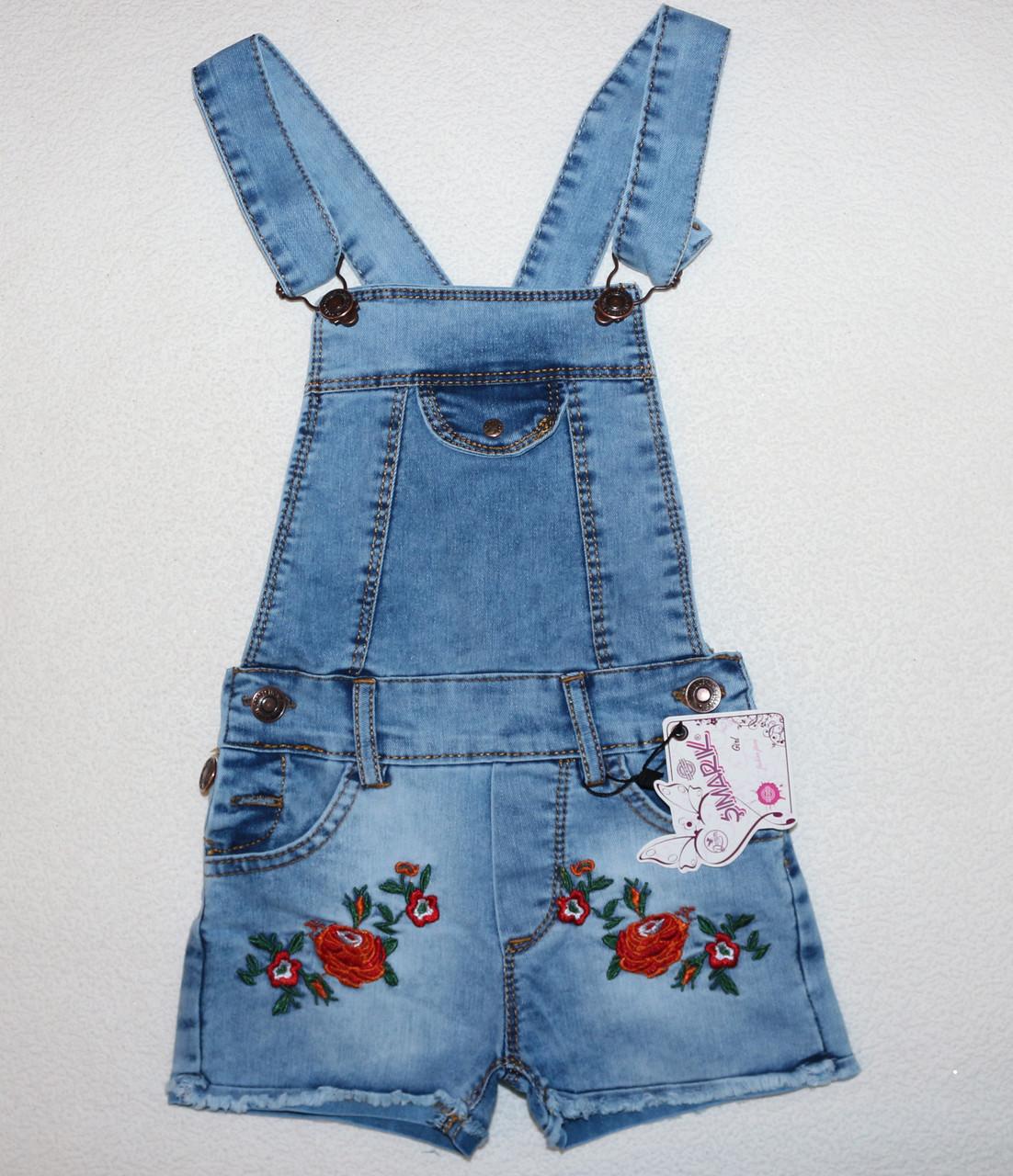 Модный джинсовый полукомбинезон (Розочки) 8-9,10-11,11-12 лет