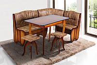 "Кухонный уголок + раскладной стол + 2 табурета ""Канзас"", дерево (Микс Мебель)"