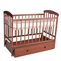 Кроватка детская Наталка с маятником + ящик,  темная