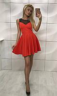 Нарядное коктельное платье бэби-дол сверху сеточкой красное, фото 1