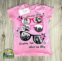 Летняя футболка для девочки розовая с принтом и камешками