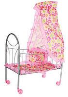 Кроватка для куклы с балдахином, на колесиках 9394
