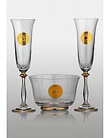 Набор для шампанского Angela Edem золото (2+1)