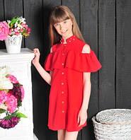 Стильное детское платье-рубашка с воланами