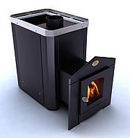 Печь на дровах для сауны с выносом Визуал Новаслав ПКС 01  -Дверца со стеклом 200х200 мм