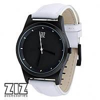 Часы наручные 6 секунд Black белый кожаный ремешок