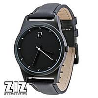 Часы наручные 6 секунд Black черный кожаный ремешок