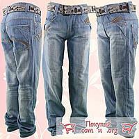 Светлые облегчённые джинсы с ремнём для мальчика от 7 до 12 лет (5265)