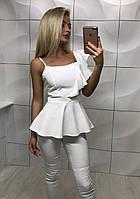 Красивая летняя нарядная выходная блуза маечка с баской и воланом белая S-M M-L