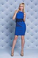 Платье  летнее  лен с гипюром джинс, фото 1