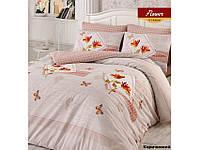 Хлопковое постельное белье ЕВРО Arya Flower коричневый AR31