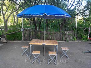 Стол деревянный для пикника 4 стульчика+зонт, фото 3