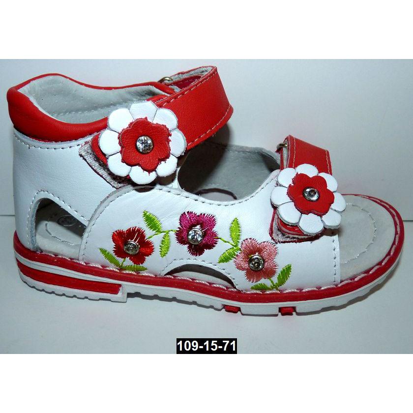 Кожаные босоножки для девочки, 23-24 размер, супинатор, каблук Томаса, ортопедические