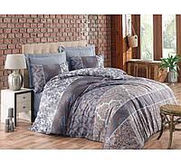 Сатиновое постельное белье евро размера Cotton box ALBERTA KAHVE CB46